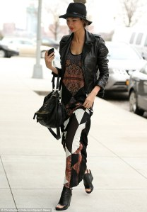 Lily-Aldridge-givenchy-maxi-dress-balenciaga-wedge-leather-jacket