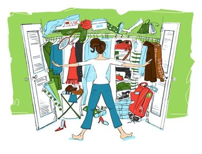 600-02377761 © Lisa Brdar Model Release: No Property Release: No Illustration of Woman Looking in Cluttered Closet